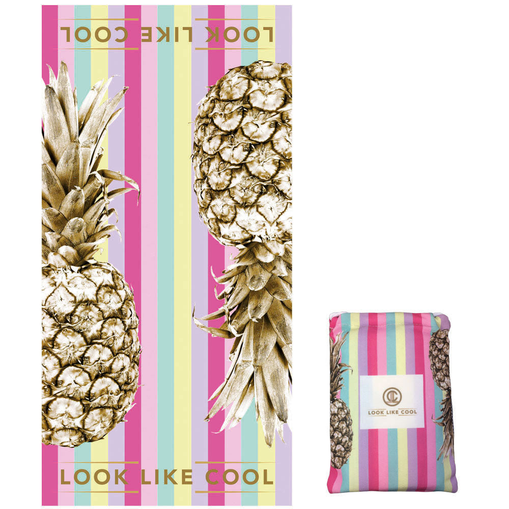 GRS Recycled Plastic Gold Pineapple Compact, Sand Free, XL Fast Drying Beach/Travel Towel- 'Unicorn Stripe'