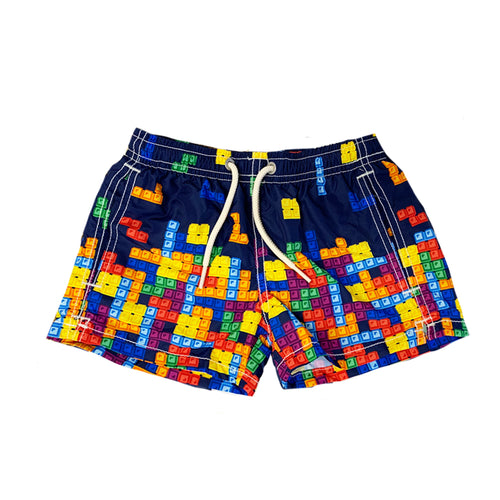 Boys Colourful Game Foldaway Swim Shorts