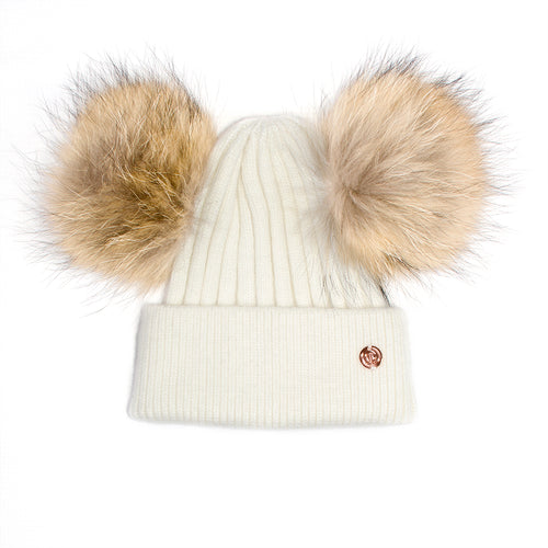 Cashmere Blend Double PomPom Bobble Hat- White