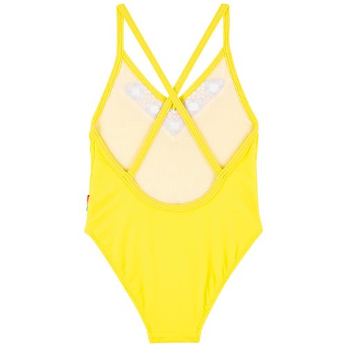 Yellow Embroidered Swimsuit