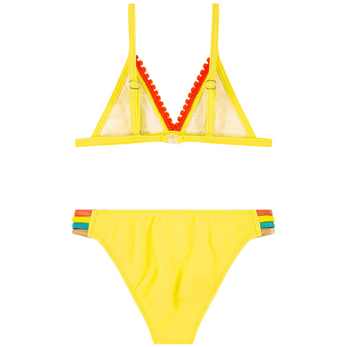 Yellow Embroidered Bikini