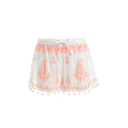 Baby Shorts Embroidered Shorts White/Fluro