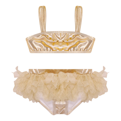 UV50+ Metallic Gold Tutu Bikini