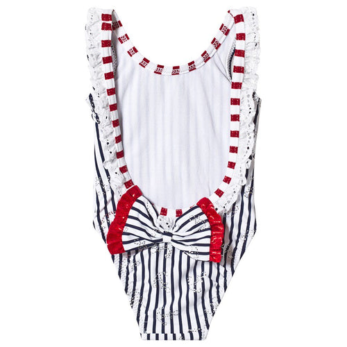 Navy and White Striped Bow Back Swimsuit