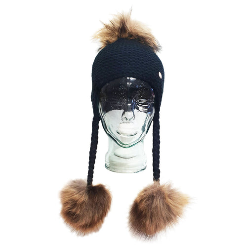 Triple PomPom Hat with Tassels- Black
