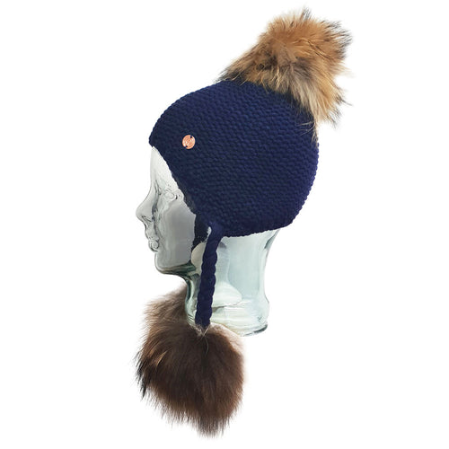 Triple PomPom Hat with Tassels- Navy