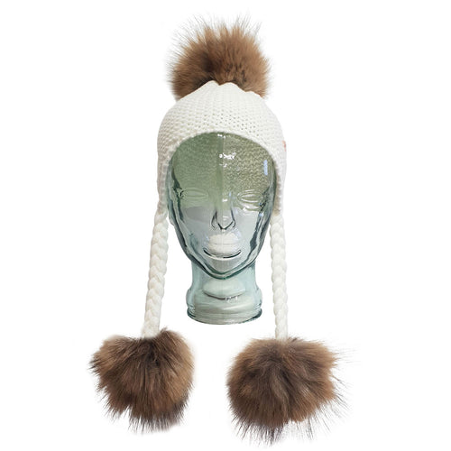 Triple PomPom Hat with Tassels- White