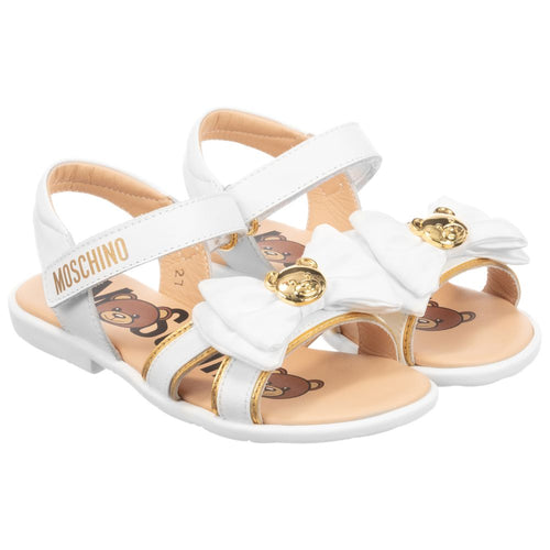 Moschino Leather White and Gold Teddy Bow Sandals