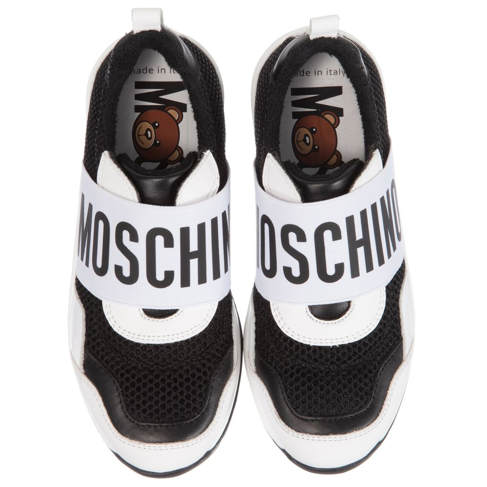 Moschino Black and White Slip On Trainers