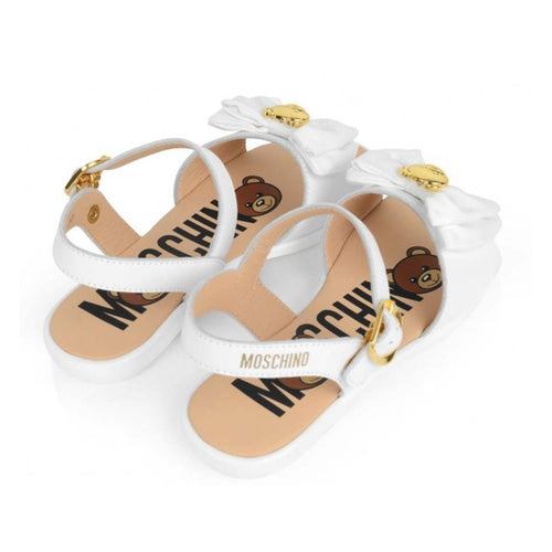 Moschino Girls White and Gold Teddy Bow Sandals
