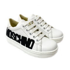 White Leather Moschino Logo Trainers