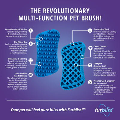 Double Sided Pet Brush - Furbliss Yellow Brush for Large Pets with Short Hair