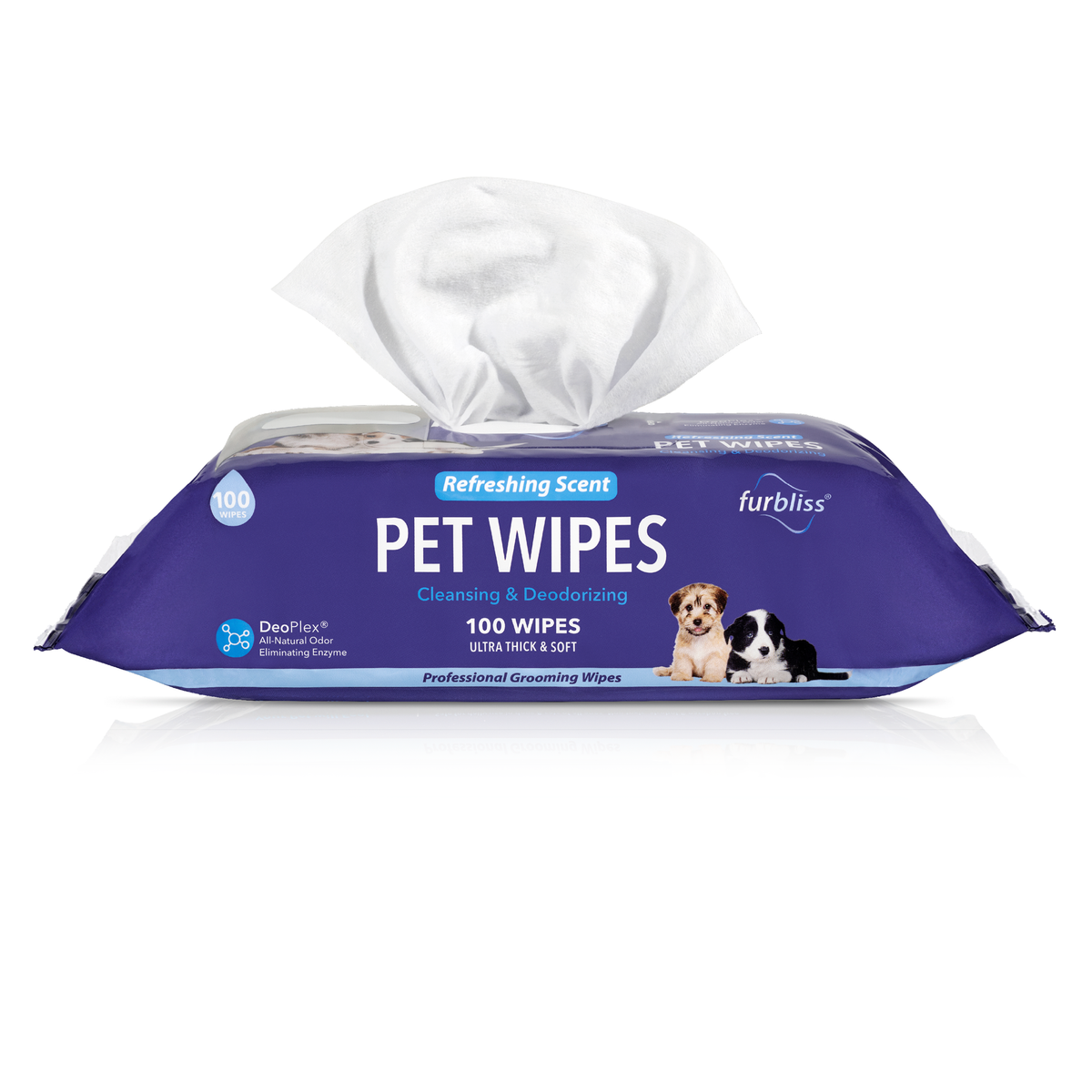 Furbliss Refreshing Hygienic Grooming Wipes for Dogs and Cats - 100 ct