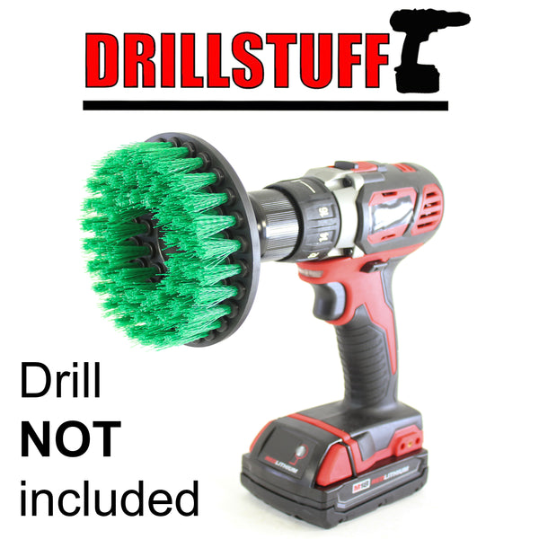 Power Scrubbing Brush Drill Attachment for Cleaning Showers, Tubs, Bathrooms, Tile, Grout, Carpet, Tires, Boats (Green-Medium)