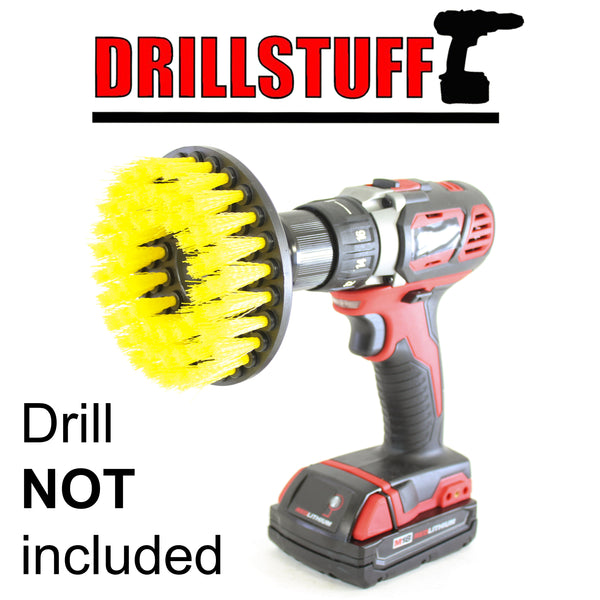 Yellow Drill Brush,Power Scrubbing Brush Drill Attachment for Cleaning Showers, Tubs, Bathrooms, Tile, Grout, Carpet, Tires, Boats Medium by Drillstuff