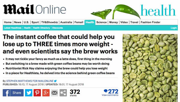 Green coffee as seen in the Daily Mail