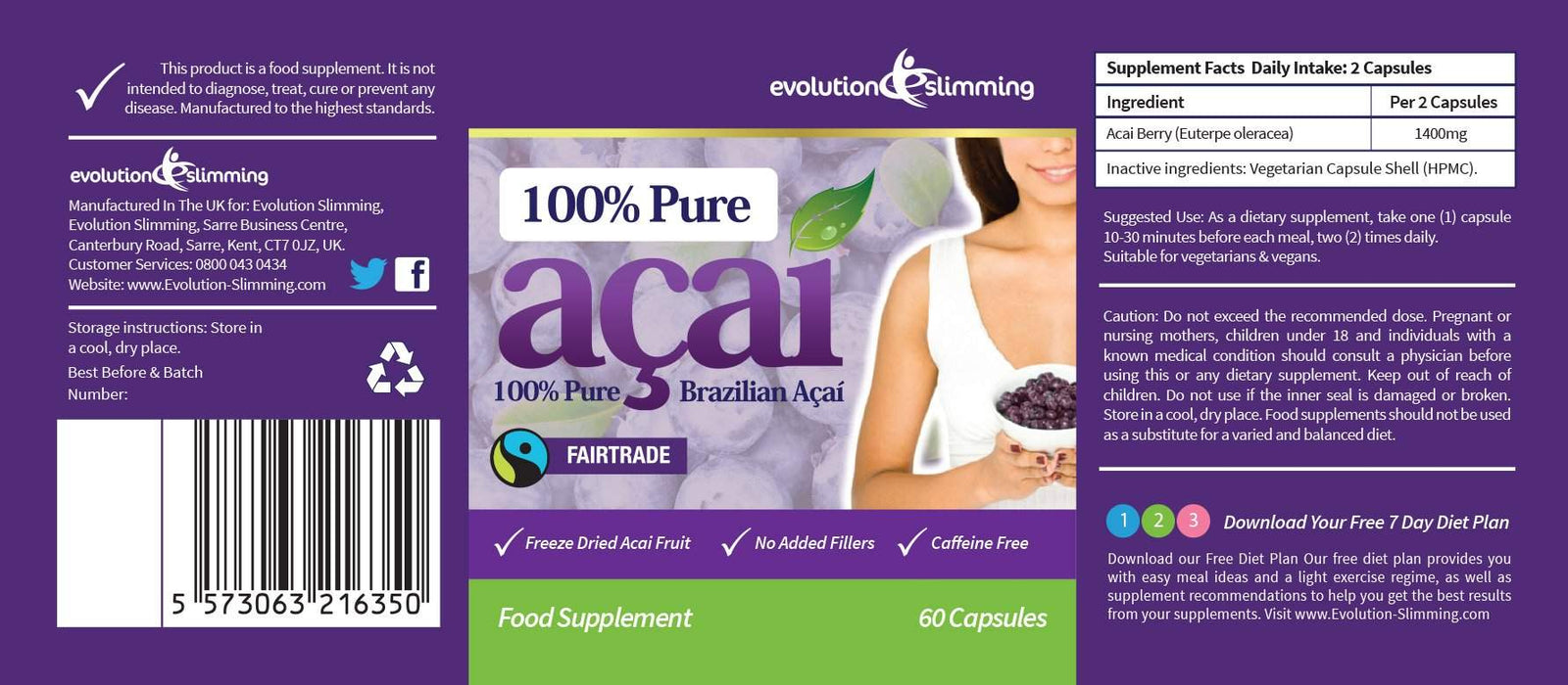 100% Pure Acai Berry Label