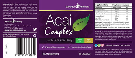 Acai Berry Complex 455mg Label