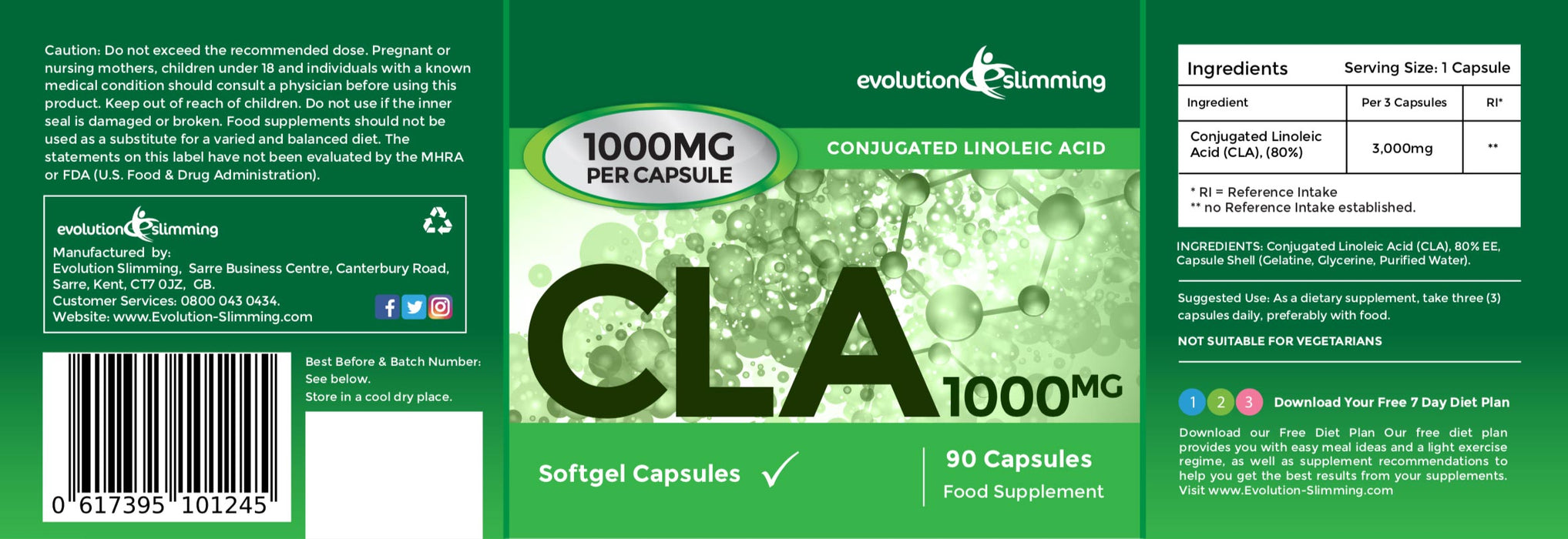 CLA Capsules 1000mg Label