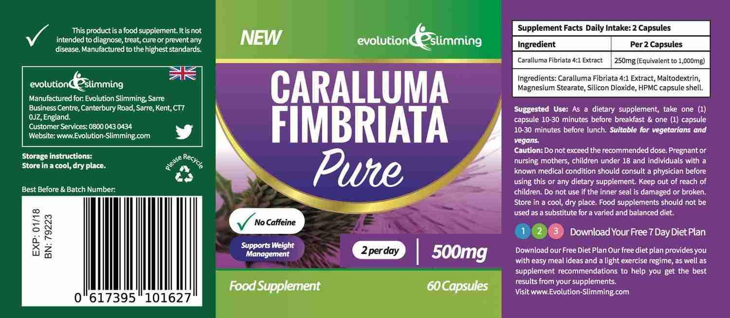 Caralluma Fimbriata Pure 500mg Label