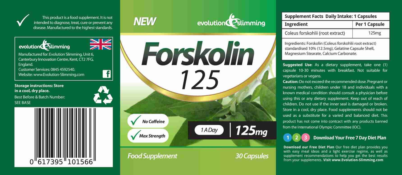 Forskolin Supplement Label