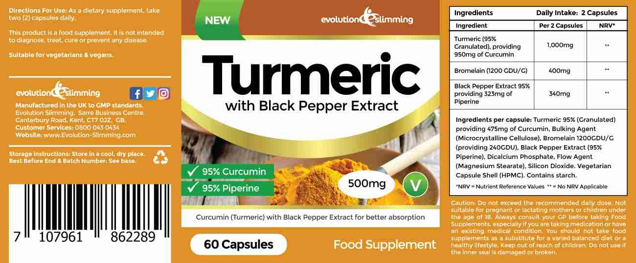 Turmeric with Black Pepper Label