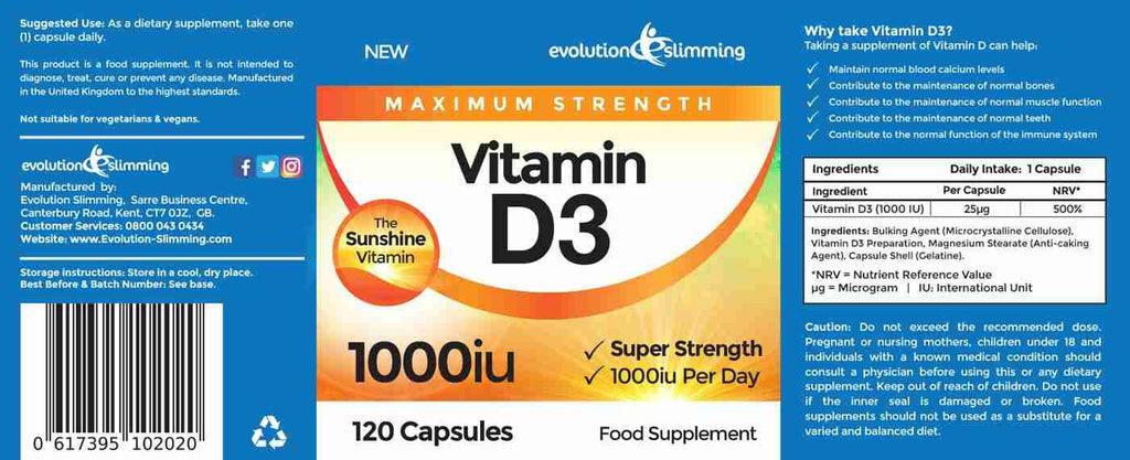 Vitamin D 1 000 Iu Capsules Max Strength Supplement