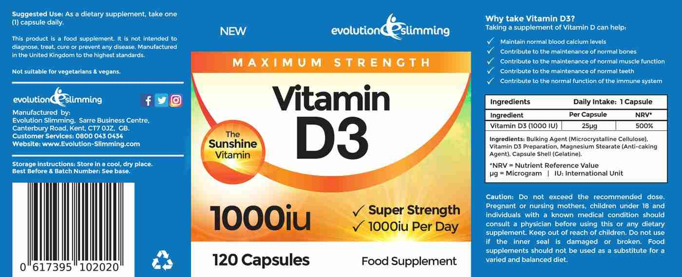 Vitamin D3 Label