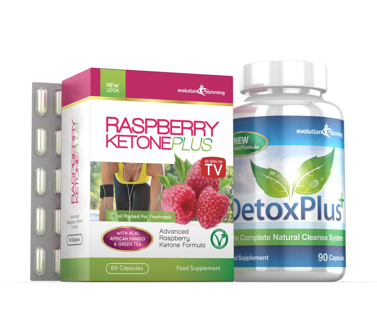 Raspberry Ketones Detox Plus Combo Cleanse Burn Fat Evolution Slimming