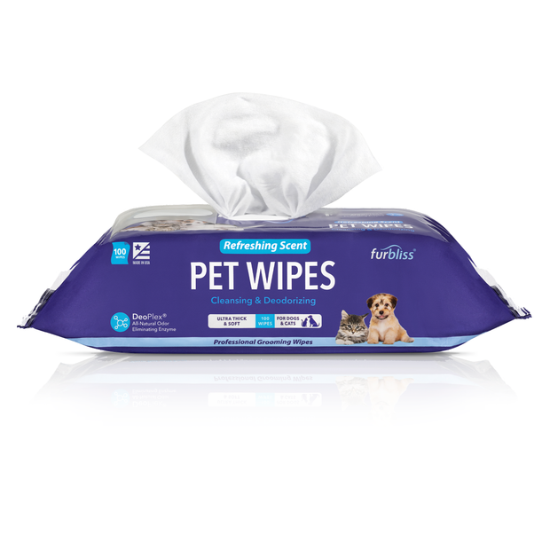 Furbliss Refreshing Grooming Wipes for Dogs and Cats - 100 ct - Vetnique Labs
