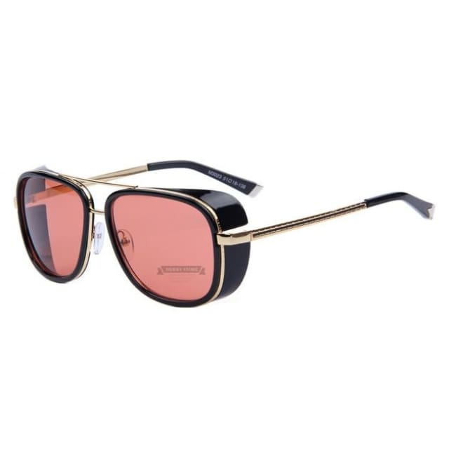 Merrys Iron Man 3 Matsuda Tony Steampunk Sun Glasses Men Mirrored Designer Brand Glasses Vintage Sun Glasses - C01 Pink