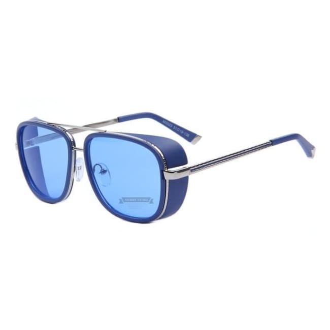 Merrys Iron Man 3 Matsuda Tony Steampunk Sun Glasses Men Mirrored Designer Brand Glasses Vintage Sun Glasses - C03 Blue