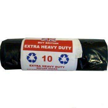 Extra Heavy Duty Black Bin Liner Bag Sacks (10 Pack)