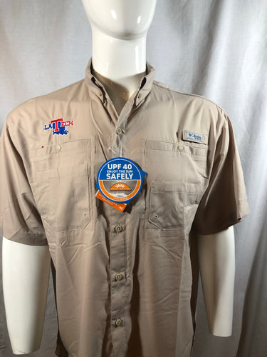 Mens LA Tech Columbia PFG Fishing Shirt - Khakie