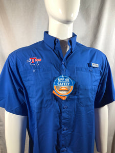 Mens LA Tech Columbia PFG Fishing Shirt - Blue