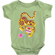 Tiger and Rose Baby Onesie By Dingding Hu