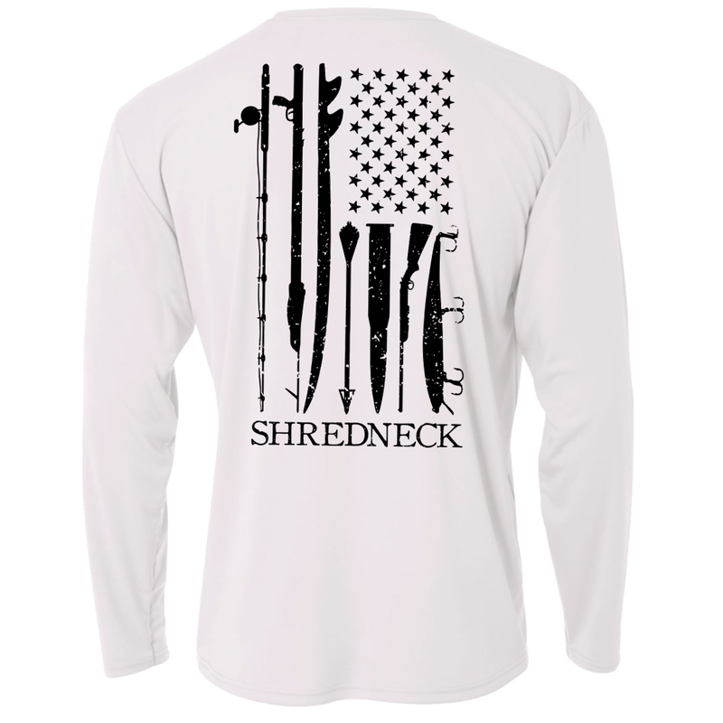 Shred, White & Blue Perf. LS - White