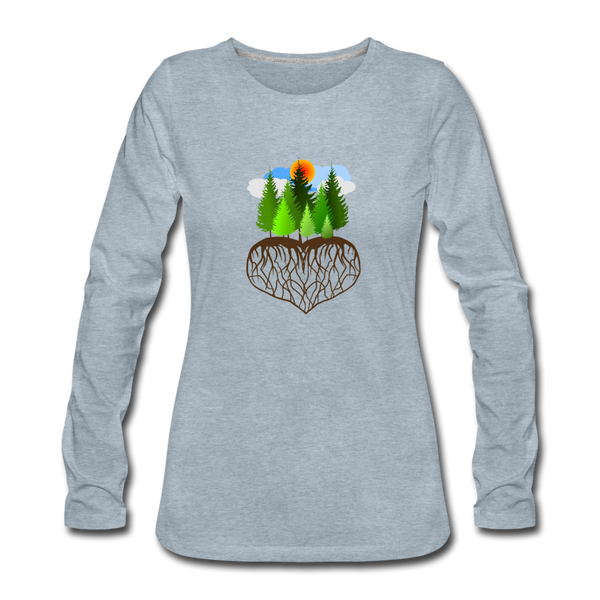 """Tree Love"" Women's Premium Long Sleeve T-Shirt - heather ice blue"
