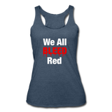 """We All Bleed Red"" Women's Racerback Tank - heather navy"
