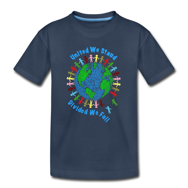 """United We Stand"" Kid's Premium Organic T-Shirt - navy"