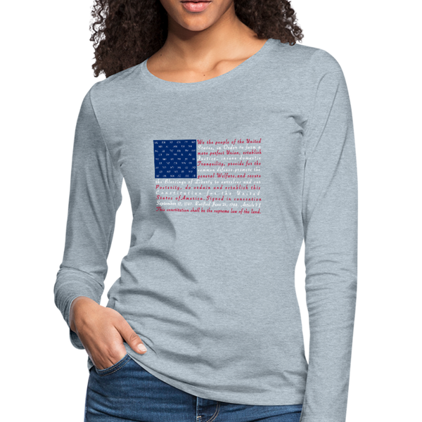 """Constitution Flag"" Women's Premium Long Sleeve T-Shirt - heather ice blue"