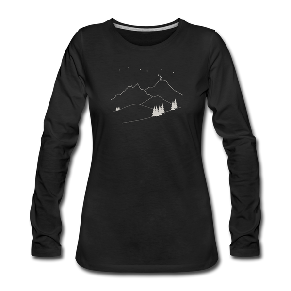 """Reach For The Stars"" Women's Premium Long Sleeve T-Shirt - black"