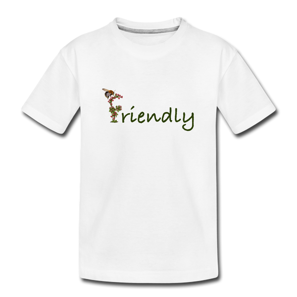 """Bee Friendly"" Kid's Premium Organic T-Shirt - white"