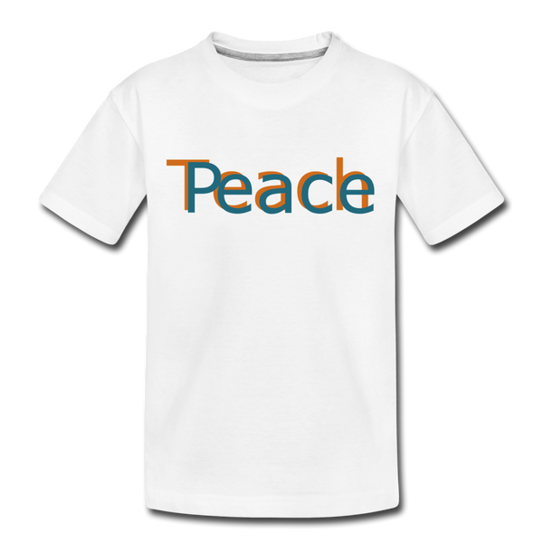 """Teach Peace"" Kids' Premium T-Shirt - white"