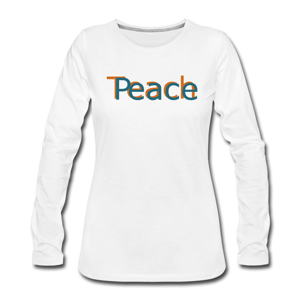 """Teach Peace"" Women's Premium Long Sleeve - white"