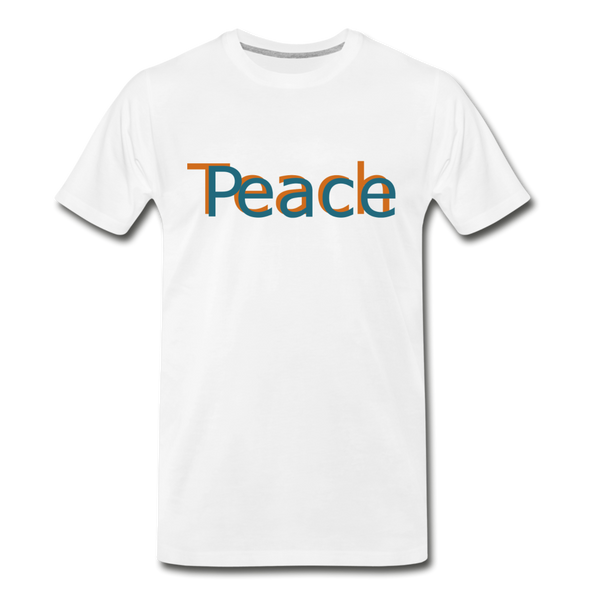 """Teach Peace"" Men's Premium Organic T-Shirt - white"