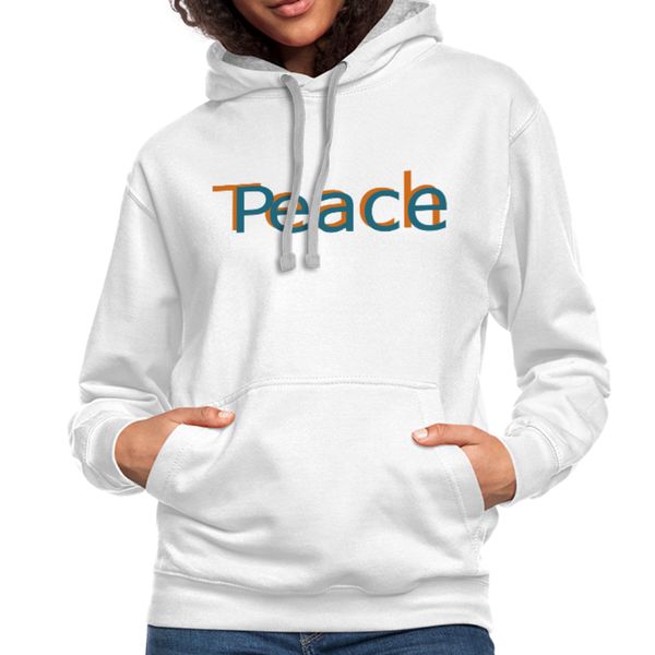 """Teach Peace"" Women's Contrast Hoodie - white/gray"