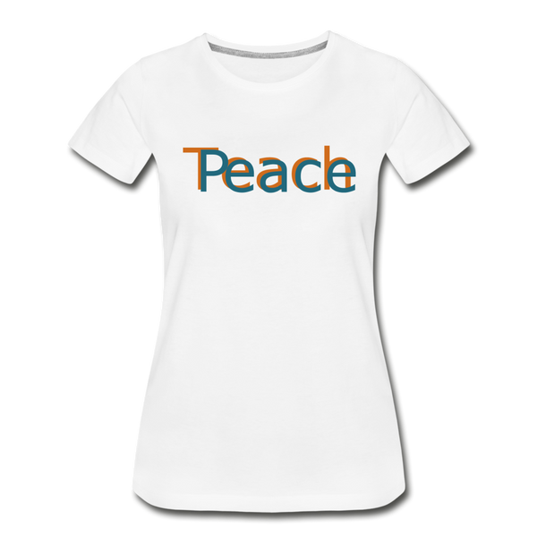 """Teach Peace"" Women's Premium Organic T-Shirt - white"