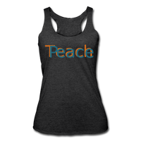 """Teach Peace"" Women's Racerback Tank - heather black"