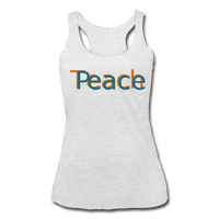 """Teach Peace"" Women's Racerback Tank - heather white"